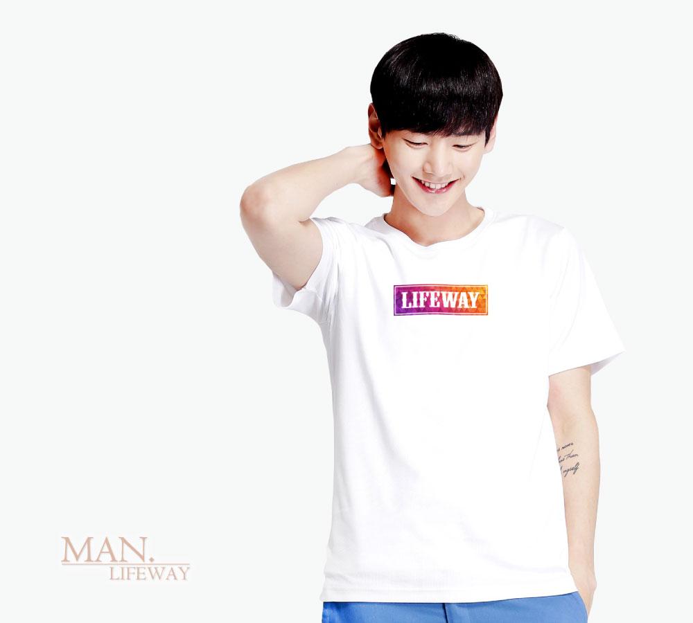 Lifeway,純棉,圓領,短袖,迷幻幾何,圖T,男,棉T