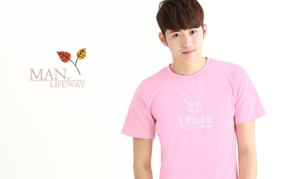棉T,Lifeway,純棉,圓領,短袖,簡約線條兔,圖T,男