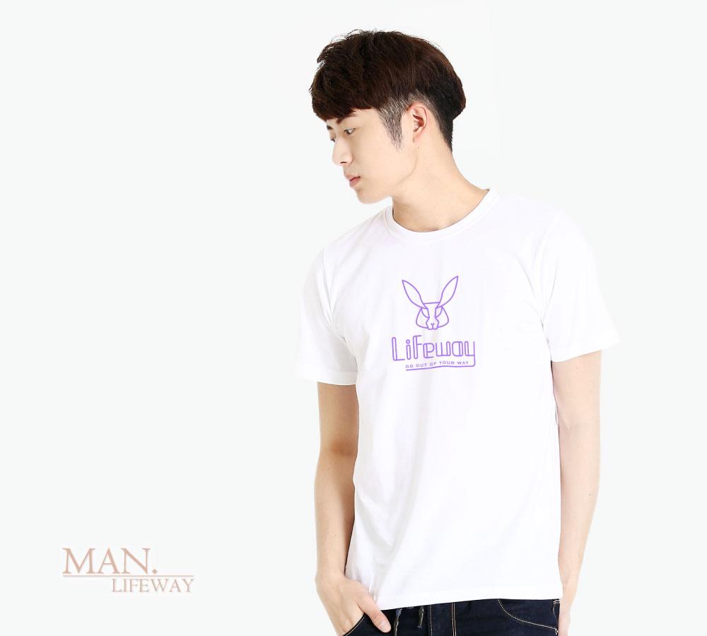 棉T,Lifeway,短袖,純棉,圓領,簡約線條兔,圖T,男