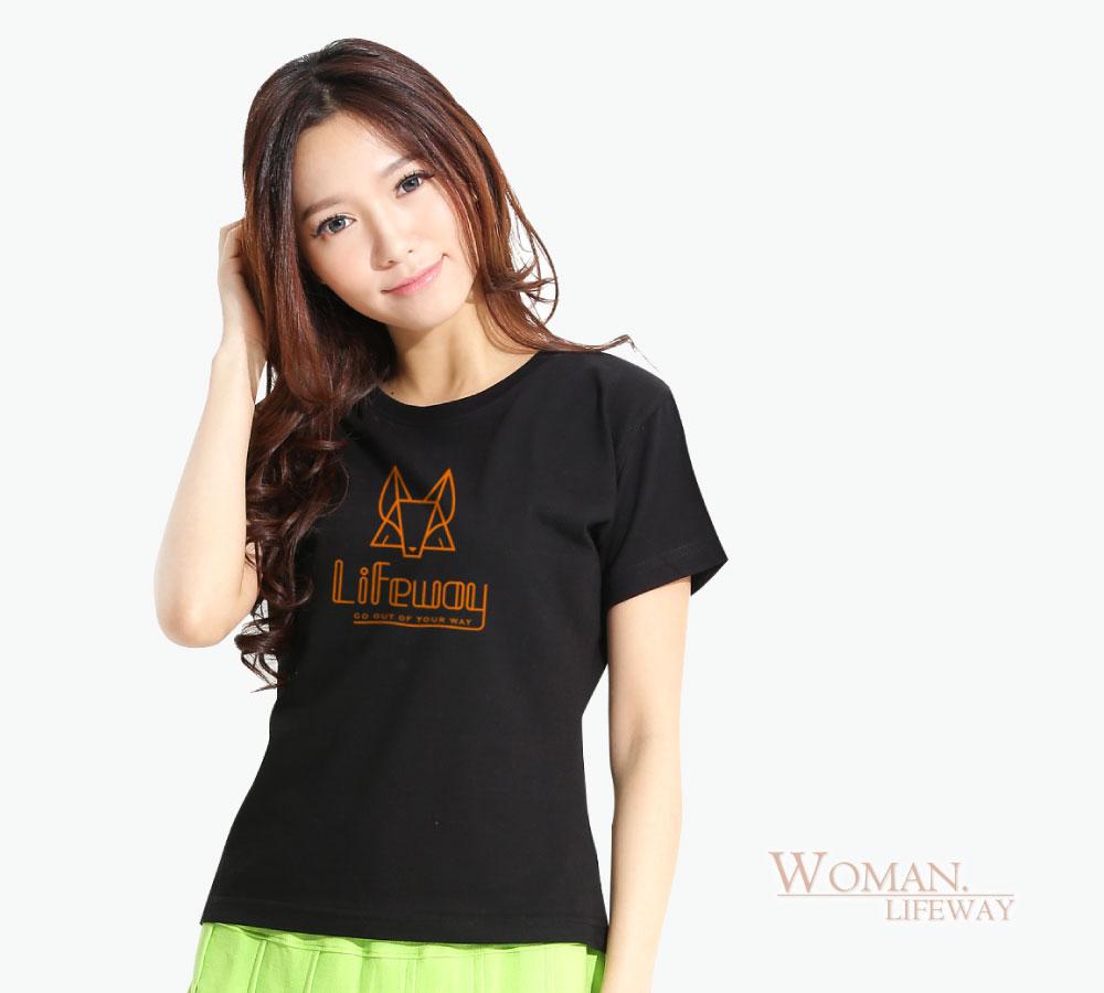 棉T,Lifeway,短袖,純棉,圓領,簡約線條狐,圖T,女